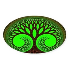 """Tree 2"" Fractal Art Oval Decal"