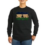 Lesotho Flag Long Sleeve Dark T-Shirt