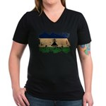 Lesotho Flag Women's V-Neck Dark T-Shirt