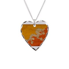 Bhutan Flag Necklace Heart Charm