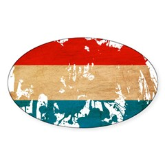 Luxembourg Flag Sticker (Oval)