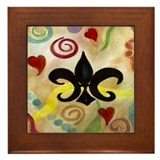 FLEUR DE LIS AND HEARTS Framed Tile