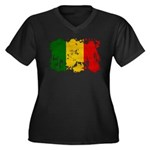 Mali Flag Women's Plus Size V-Neck Dark T-Shirt