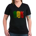 Mali Flag Women's V-Neck Dark T-Shirt