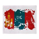 Mongolia Flag Throw Blanket