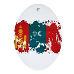 Mongolia Flag Ornament (Oval)