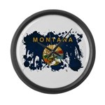 Montana Flag Large Wall Clock