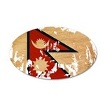 Nepal Flag 38.5 x 24.5 Oval Wall Peel