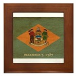 Delaware Flag Framed Tile