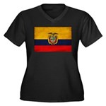 Ecuador Flag Women's Plus Size V-Neck Dark T-Shirt
