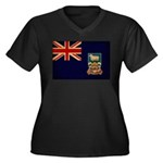 Falkland Islands Flag Women's Plus Size V-Neck Dar