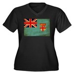 Fiji Flag Women's Plus Size V-Neck Dark T-Shirt