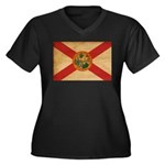 Florida Flag Women's Plus Size V-Neck Dark T-Shirt