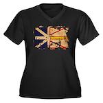 Newfoundland Flag Women's Plus Size V-Neck Dark T-