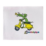 Moped Mouse by Tamara Warren Throw Blanket