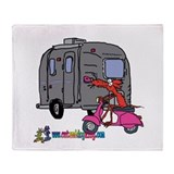 Vintage Moped Mouse by Tamara Throw Blanket