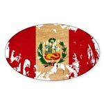 Peru Flag Sticker (Oval 10 pk)
