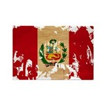 Peru Flag Rectangle Magnet (100 pack)