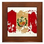 Peru Flag Framed Tile