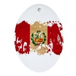 Peru Flag Ornament (Oval)