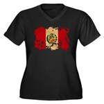 Peru Flag Women's Plus Size V-Neck Dark T-Shirt