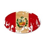 Peru Flag 38.5 x 24.5 Oval Wall Peel