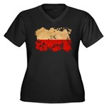 Poland Flag Women's Plus Size V-Neck Dark T-Shirt