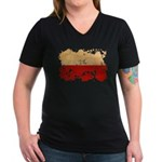 Poland Flag Women's V-Neck Dark T-Shirt