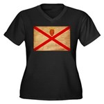 Jersey Flag Women's Plus Size V-Neck Dark T-Shirt