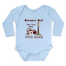 1st Birthday Football Long Sleeve Infant Bodysuit