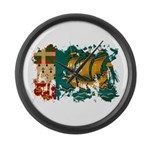 Saint Pierre and Miquelon Fla Large Wall Clock