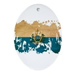 San Marino Flag Ornament (Oval)