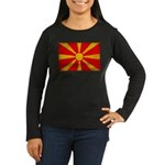 Macedonia Flag Women's Long Sleeve Dark T-Shirt