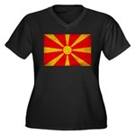 Macedonia Flag Women's Plus Size V-Neck Dark T-Shi