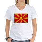 Macedonia Flag Women's V-Neck T-Shirt