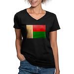 Madagascar Flag Women's V-Neck Dark T-Shirt