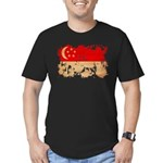 Singapore Flag Men's Fitted T-Shirt (dark)