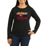 Slovakia Flag Women's Long Sleeve Dark T-Shirt