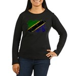 Tanzania Flag Women's Long Sleeve Dark T-Shirt