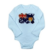 Turks and Caicos Flag Long Sleeve Infant Bodysuit