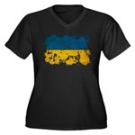 Ukraine Flag Women's Plus Size V-Neck Dark T-Shirt