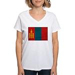 Mongolia Flag Women's V-Neck T-Shirt