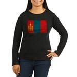 Mongolia Flag Women's Long Sleeve Dark T-Shirt