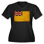 Niue Flag Women's Plus Size V-Neck Dark T-Shirt
