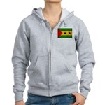 Sao Tome and Principe Flag Women's Zip Hoodie