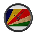 Seychelles Flag Large Wall Clock