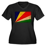Seychelles Flag Women's Plus Size V-Neck Dark T-Sh