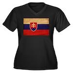 Slovakia Flag Women's Plus Size V-Neck Dark T-Shir