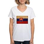 Slovakia Flag Women's V-Neck T-Shirt