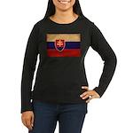 Slovakia Flag Women's Long Sleeve Dark T-Shirt